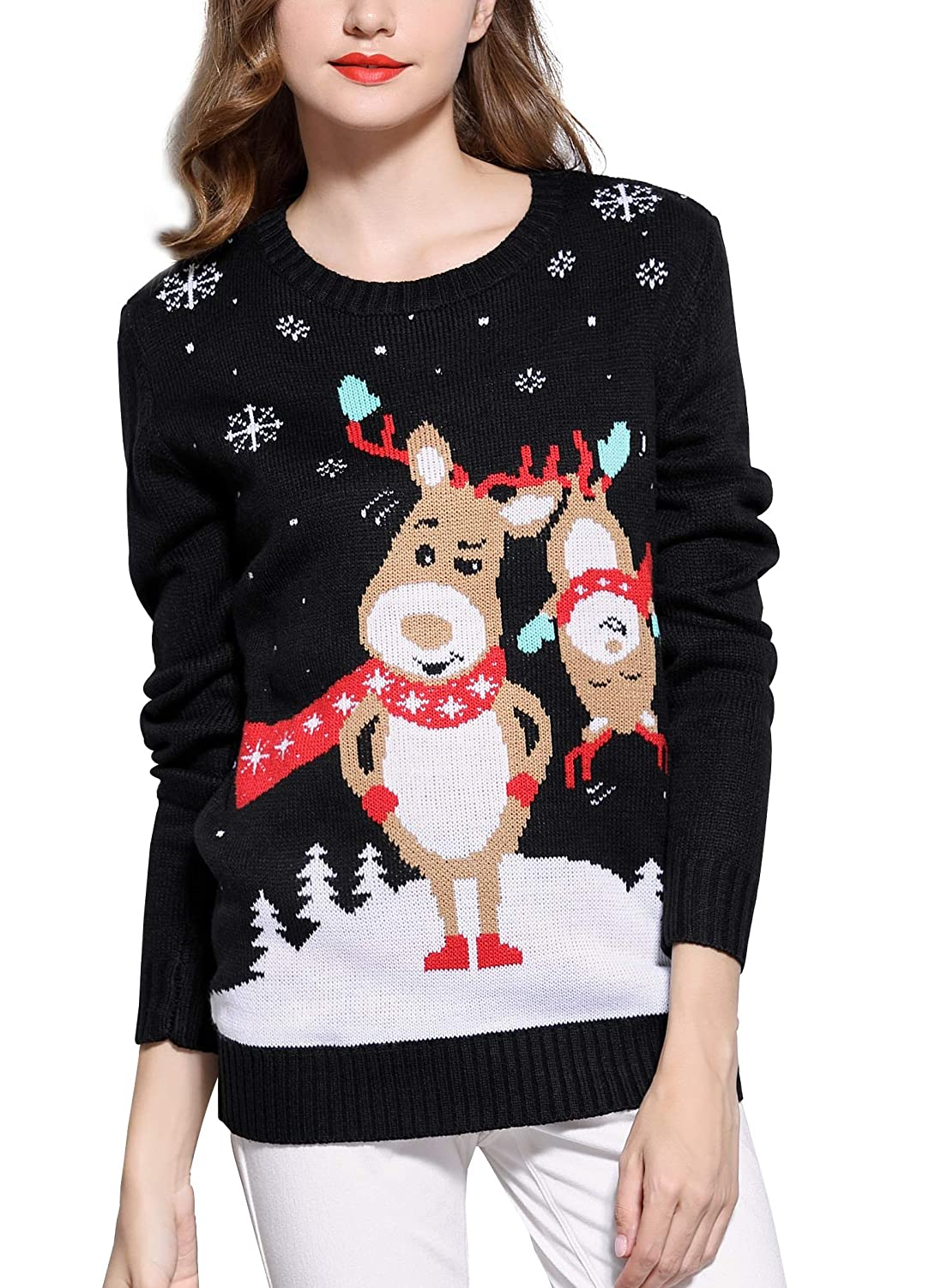 0d853cec10b Women s Christmas Reindeer Themed Knitted Holiday Sweater Girl Pullover at  Amazon Women s Clothing store