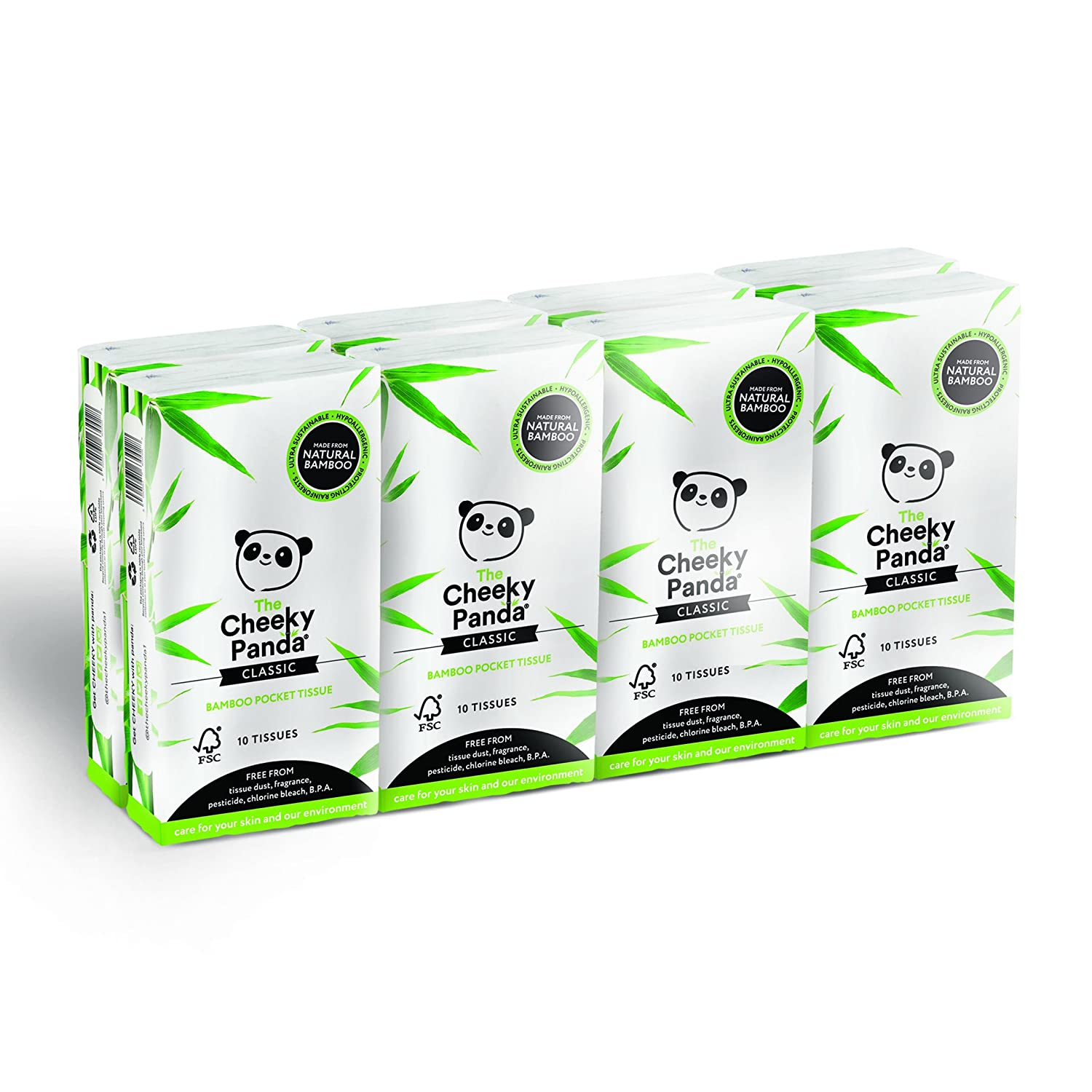 The Cheeky Panda 100 Percent Bamboo Pocket Tissue, Pack of 8 The Cheeky Panda Limited 5060561630035