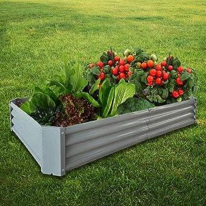 BATH KNOT Galvanized Steel Raised Garden Bed Kit Outdoor Metal Above Ground Planter Box for Vegetables Flowers Herbs and Plants, 5x3x1-Feet, Dark Grey