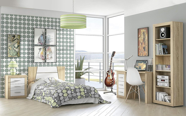 chinfonier Dormitorio Modelo Lara Fondo Alto x 39,6 cm Ancho duehome HomeSouth Comoda 4 cajones x 81,5 cm Color Cambria y Blanco Medidas: 98 cm