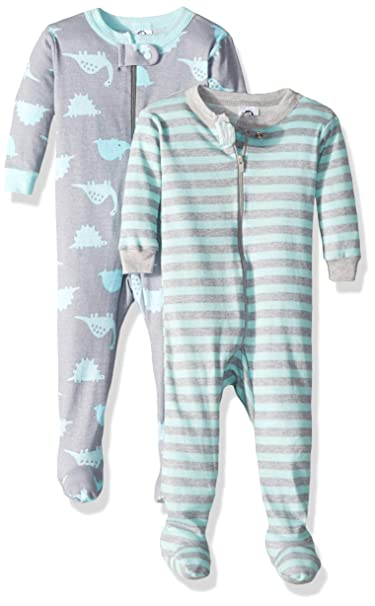 3c9351d6c069 Amazon.com  Gerber Baby Boys Organic 2 Pack Cotton Footed Unionsuit ...