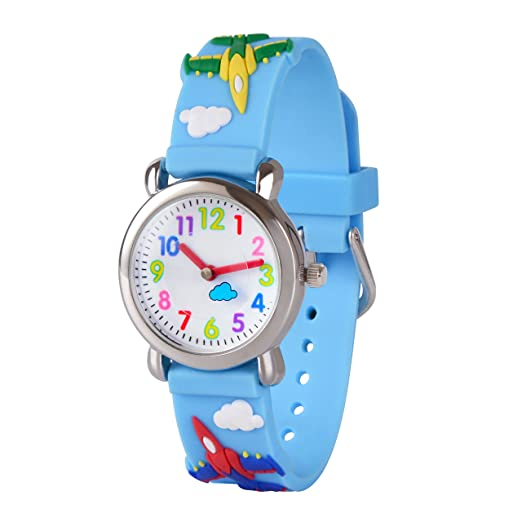 Wolfteeth Wrist Watch for Kids Watches Waterproof 3D Sky Blue Warplane 14mm Watchband 27mm Metal Case