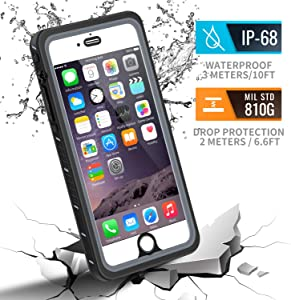 meritcase iPhone 6 Plus/6s Plus Case, IP68 Certified Waterproof Shockproof Dustproof Snowproof Full Body Protective Underwater Cover with Built in Screen Protector for iPhone 6 Plus/6S Plus