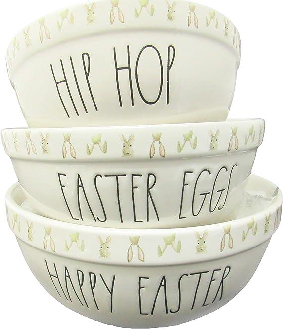 Rae Dunn by Magenta HIP HOP Bunny Egg Shape Appetizer Plates Set of 4