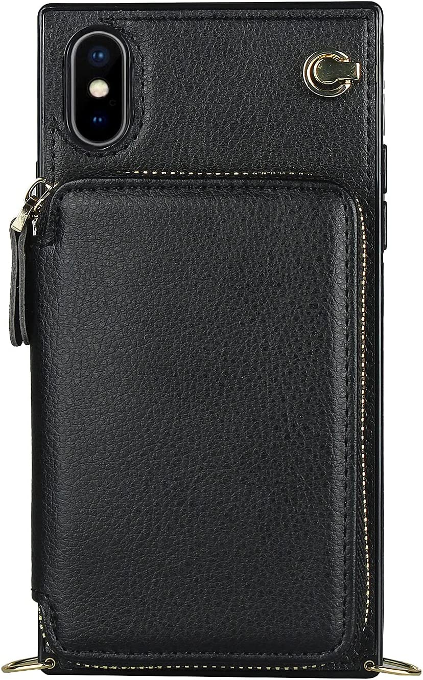 Smartphone Protective Clips For iPhone XS MAX Zipper Wallet Case , Case with Card Holder Slot Wrist Strap Protective Handbag Purse Case Leather Cover for iPhone XS MAX Phone Bag ( Color : Black )