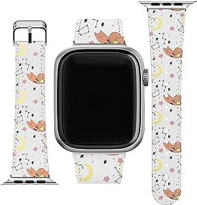 Lex Altern Wristband Compatible for Apple Watch Series 1/2/3/4/5/6/SE Print Animal Cute Galaxy Zodiac Slim Band PU Leather Design Replacement Strap 38-40-42-44 mm Celestial Fox Bracelet Moon Stars