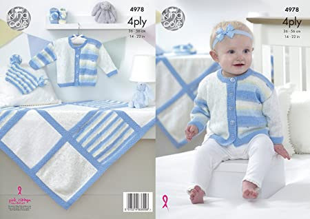 King Cole Knitting Pattern Baby Jacket Knitted in Big Value Baby 4ply 3368