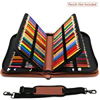 YOUSHARES 160 Slots Colored Pencil Case - Colorful Large Capacity Pen/Pencil Organizer with Strap for Watercolor Pencils, Cosmetic LipSense and Make up Brush