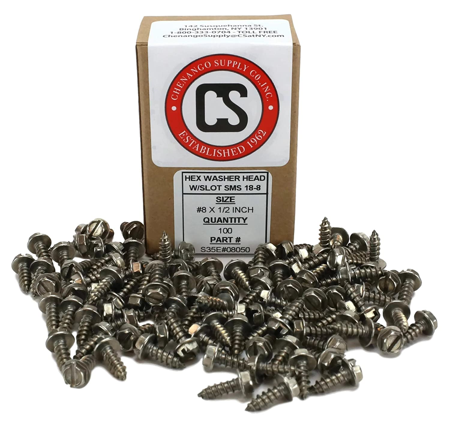 1//2 to 1-1//2 in Listing #8x1-1//2 100 pcs Sheet Metal Screws #8 X 1-1//2 Stainless Steel Hex Washer Head w//Slot Sheetmetal Screw