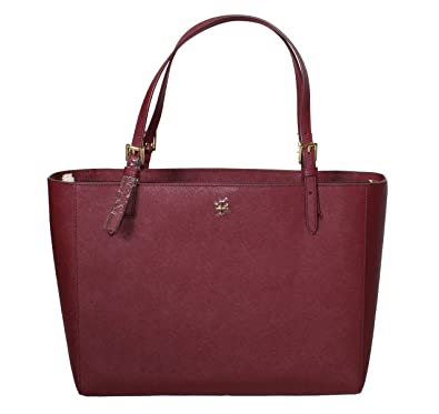 120afbe71eb3a Amazon.com  Tory Burch Emerson Large Buckle Tote Saffiano Leather Handbag  49125 (Imperial Garnet)  Shoes