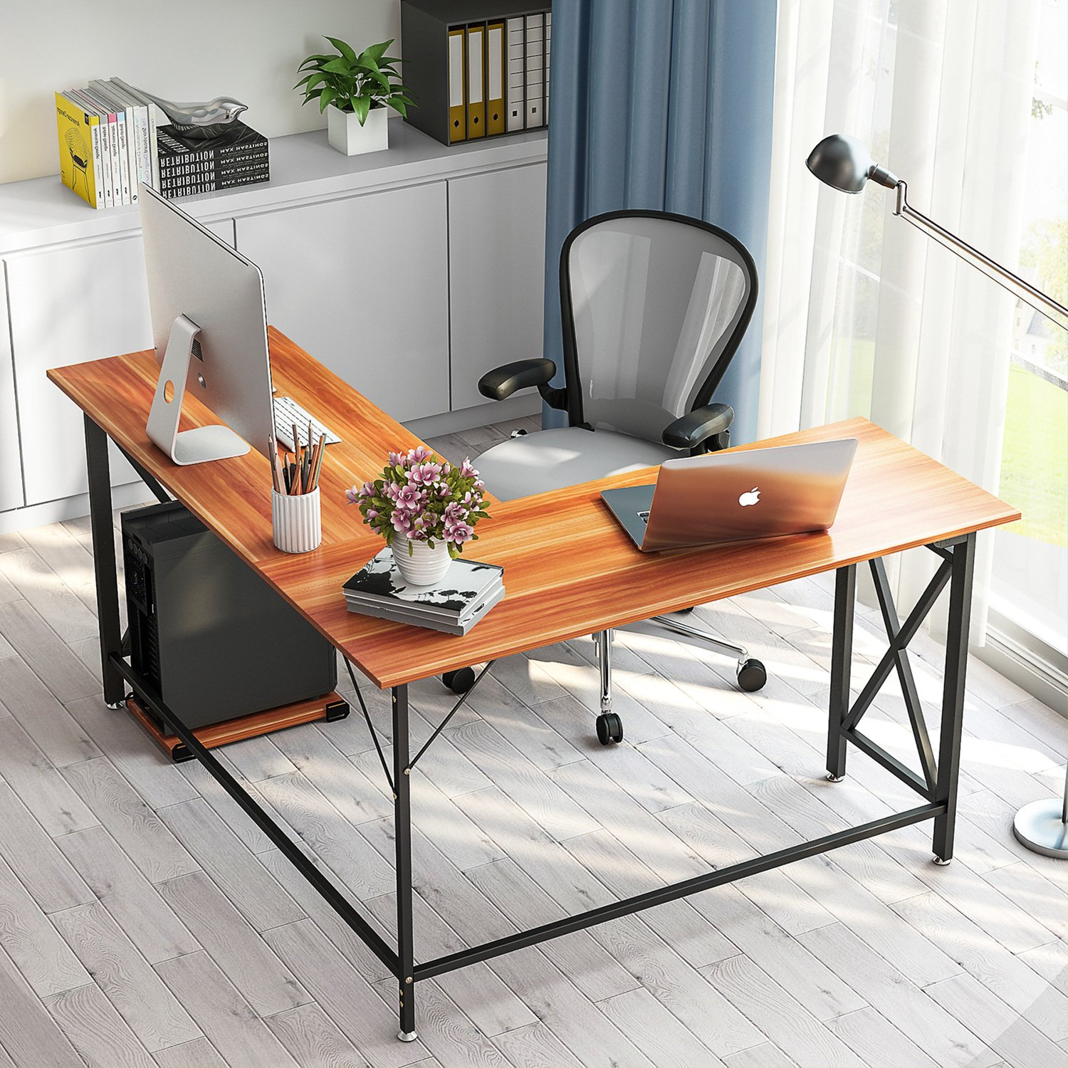 L-Shaped Computer Desk, LITTLE TREE 60'' Large Corner Desk PC Laptop Study Gaming Table Workstation with Sturdy X Metal Frame for Home Office, Rosewood