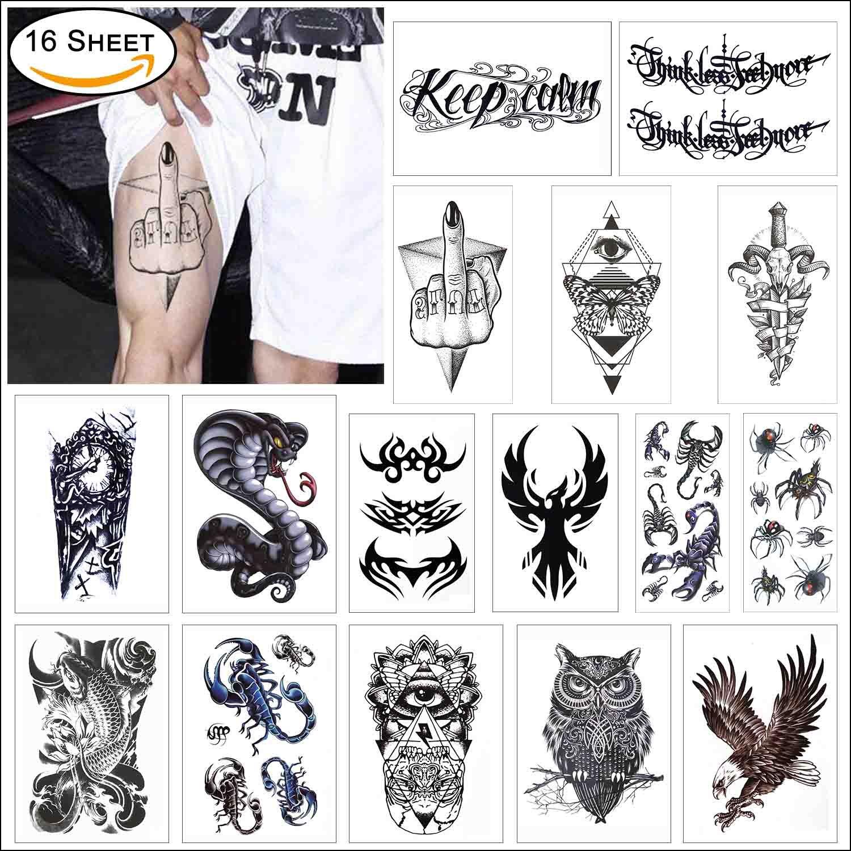 16 Sheets Large Body Sticker Flash Tattoo Half Arm Shoulder Sleeve Black Temporary Tattoo - Tribal Symbols, Koi Fish, Eagle Hawks, Owl, Snake, Scorpion, Spider COKOHAPPY