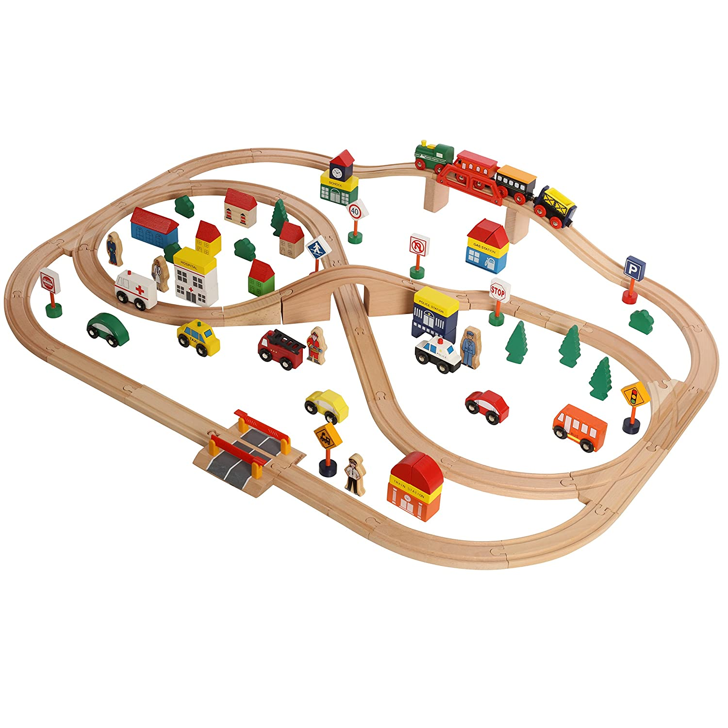 Compatible with All Major Brands On Track USA 100 Piece All in One Wooden Train Set with Accessories Comes in A Clear Container