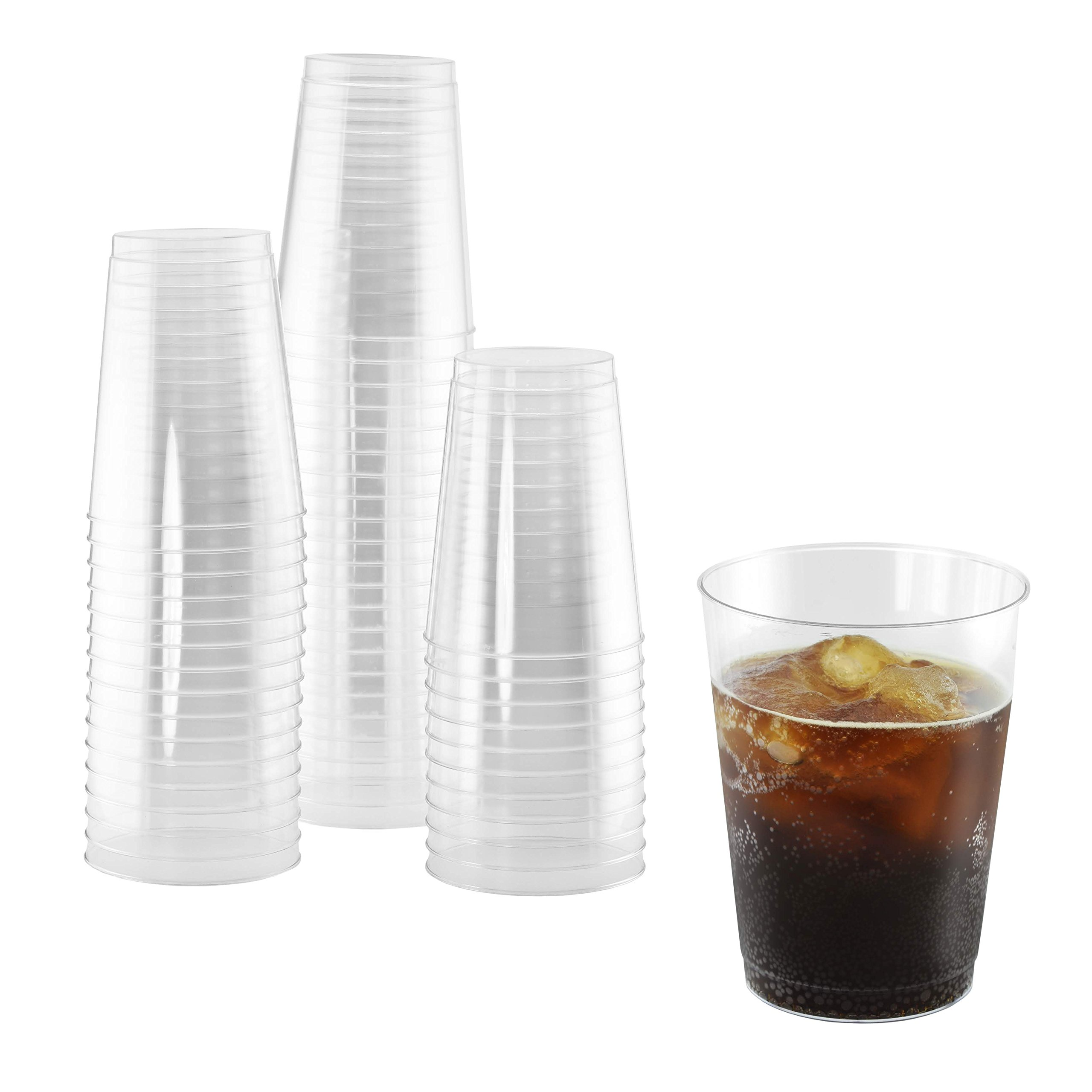 BloominGoods Clear Plastic Cups 10-Ounce Tumblers - Fancy Disposable Plastic Wedding Cups Tumblers for Party Holiday and Occasions (50-Pack)