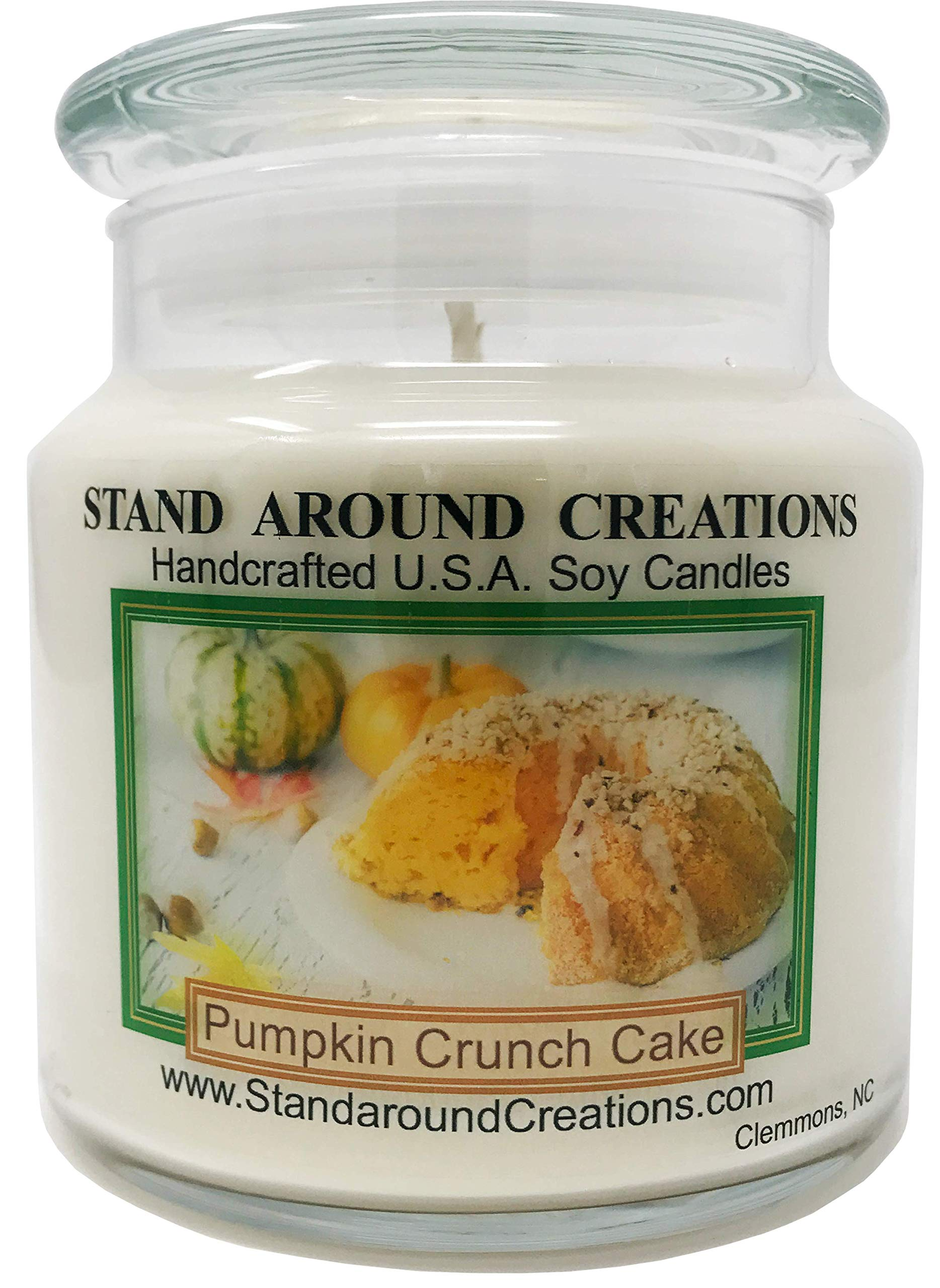 Premium 100% Soy Apothecary Candle - 16 oz. - Scent: Pumpkin Crunch Cake - The aroma of creamy pumpkin pie filling, surrounded w/freshly baked cake, melted butter, pecans, and hints of spice.