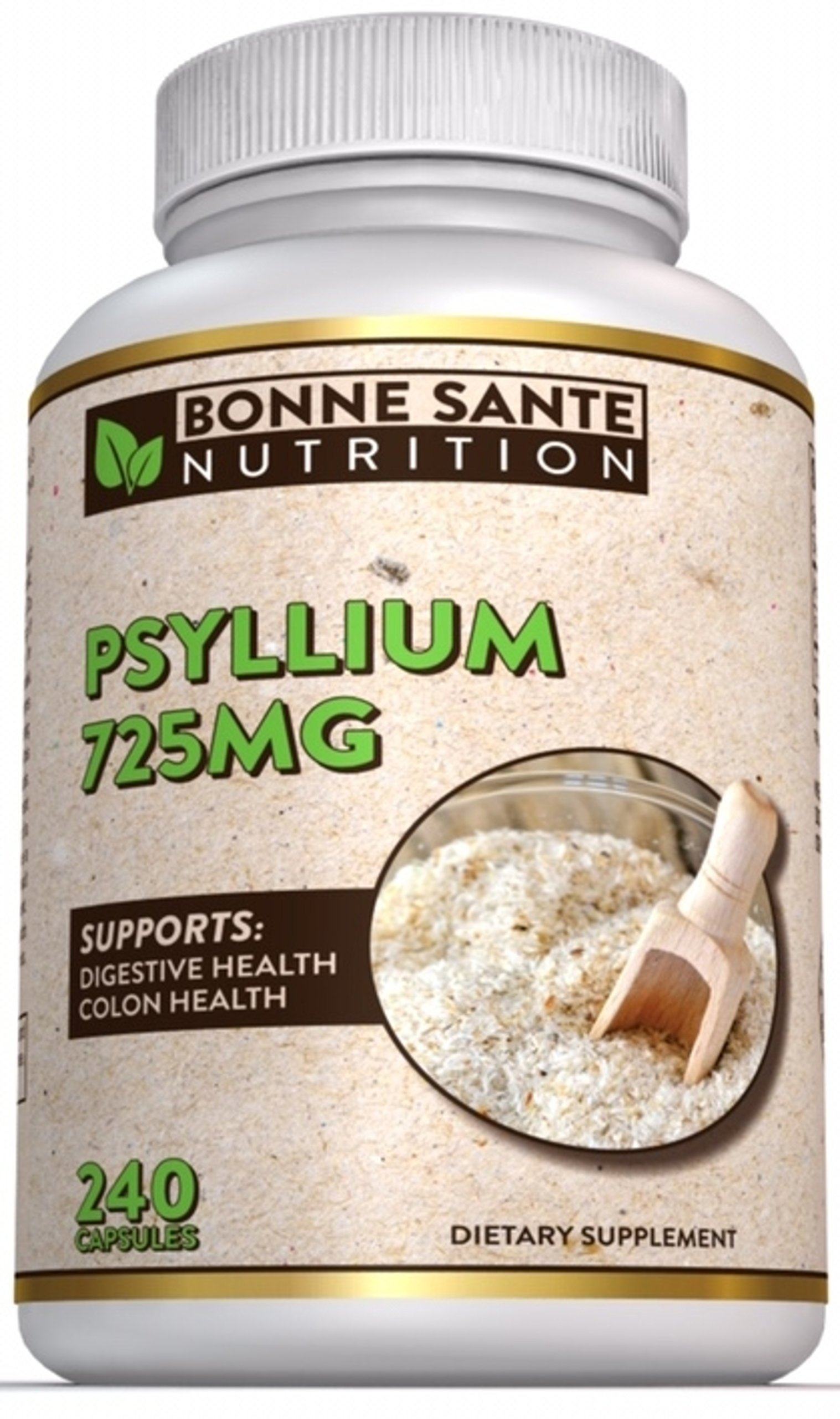 Psyllium Husk by Bonne Sante Nutrition, 240 Psyllium Husk Capsules, 725 mg Per Serving, Supports Healthy Digestive System, All Natural, 100% Soluble Fiber by Bonne Sante Nutrition