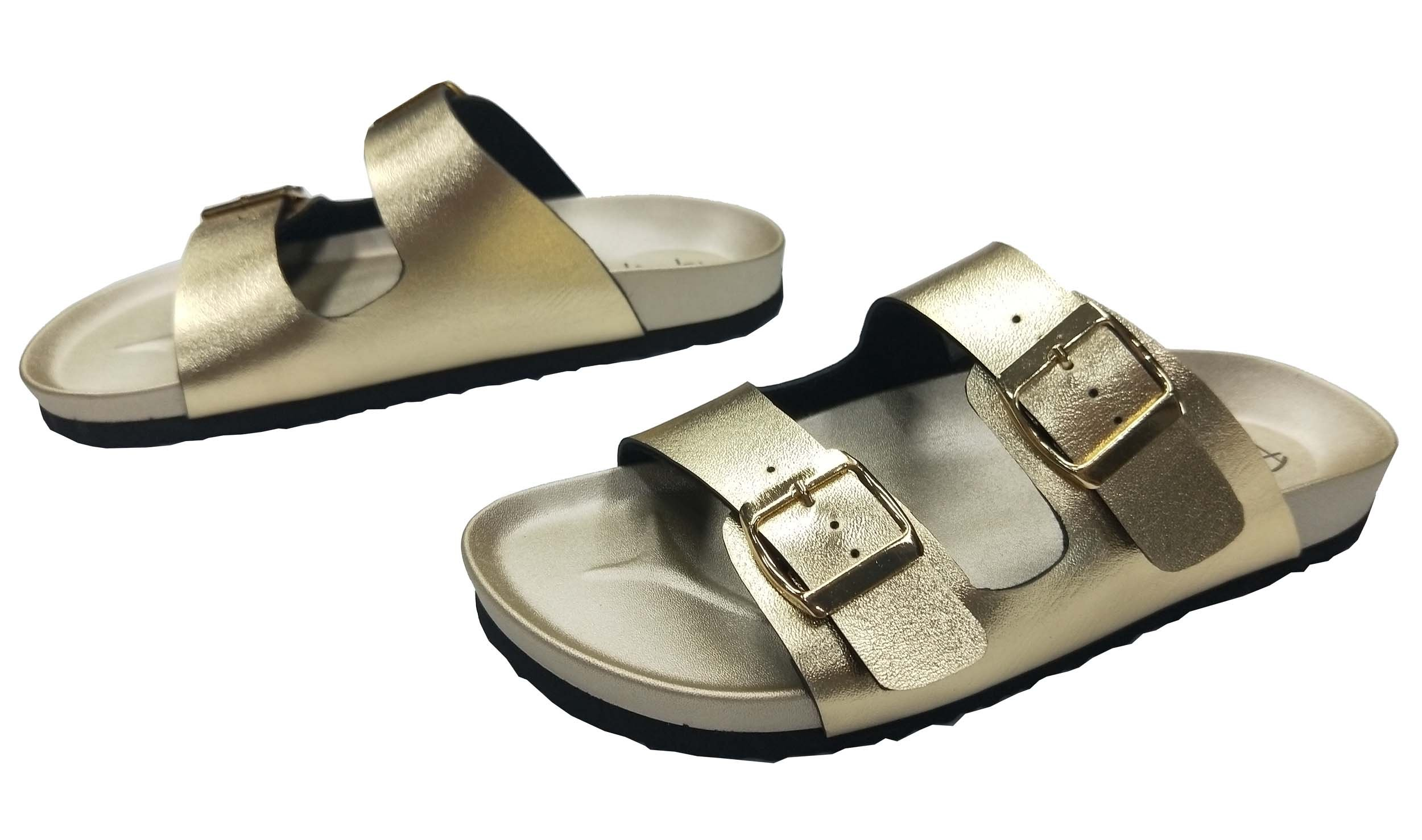 Pepstep Buckle Strap Sandals for Women Super Lightweight and Comfortable Golden/Black Womens Footbed Slide Sandals(9, Golden) by Pepstep (Image #7)