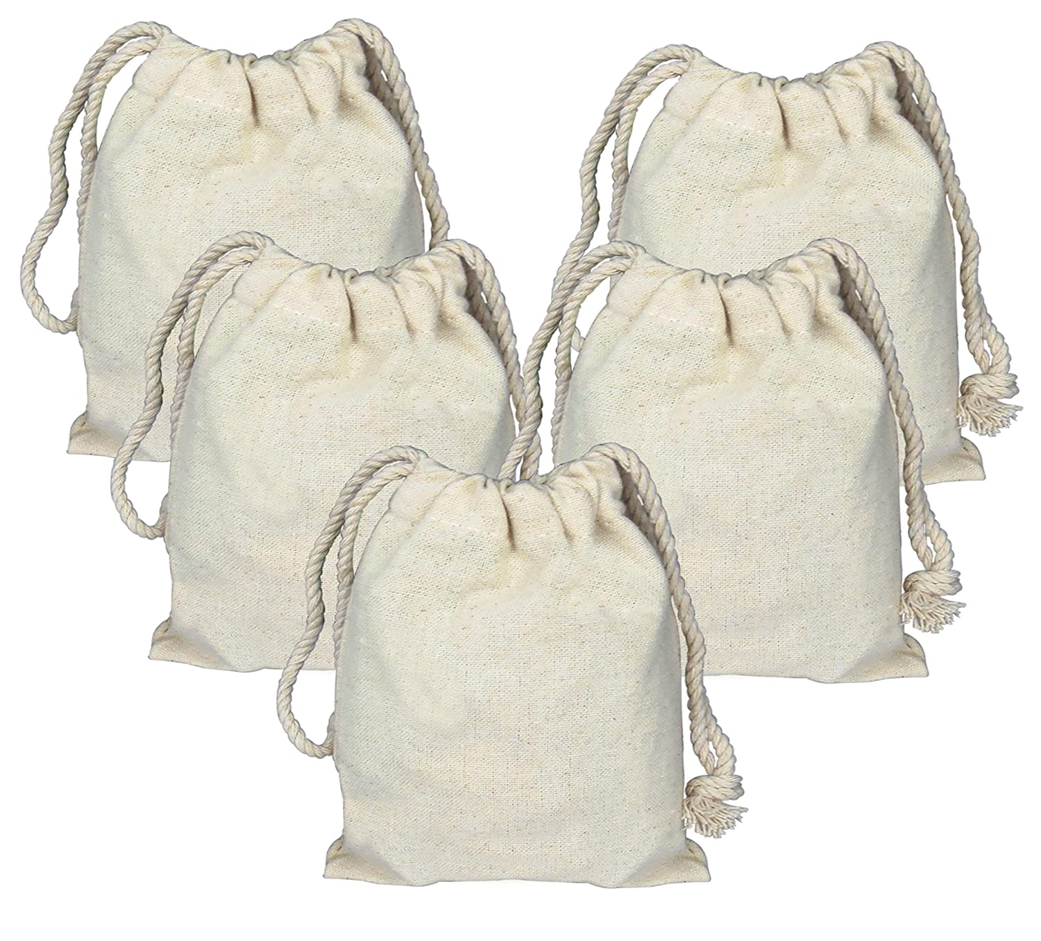 Lontenrea 10 Pcs 6x8 Inches Drawstring Cotton Muslin Bags Reusable Storage Bag (10 PCS 6X8)