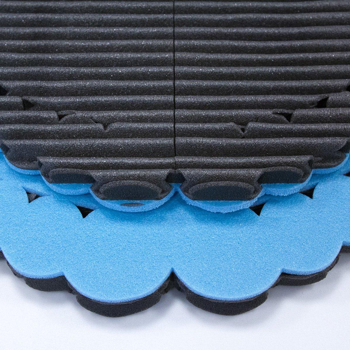 2 tappetini dopo sport con l'effetto massaggiante studiati per proteggere i tuoi piedi da germi e funghi in ambienti come palestra, piscina e spogliatoio.