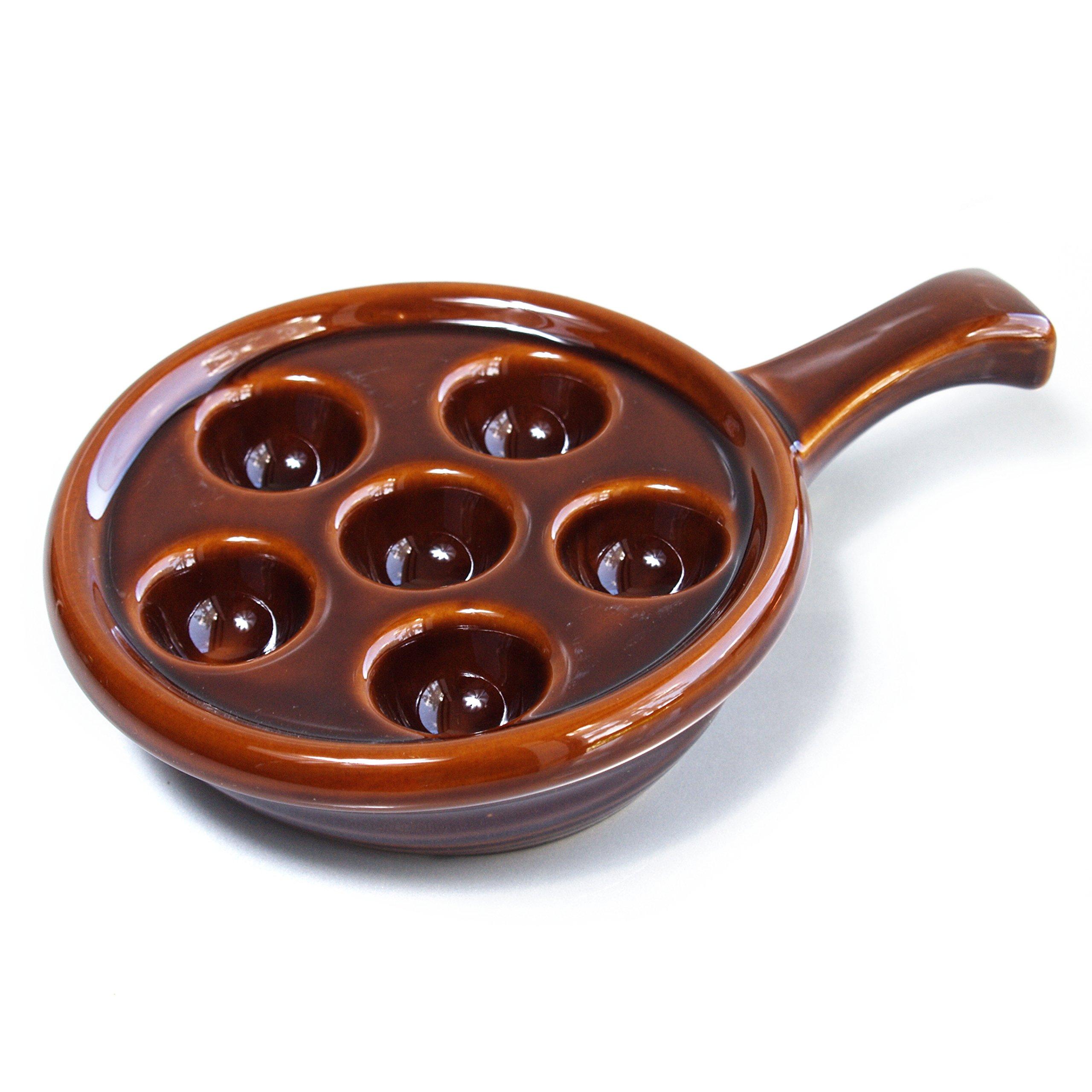 Browne Basics Brown Ceramic 5 Inch Escargot Plate, Set of 4