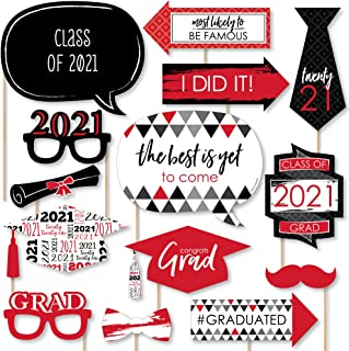 product image for Big Dot of Happiness Red Grad - Best is Yet to Come - Red 2021 Graduation Party Photo Booth Props Kit - 20 Count