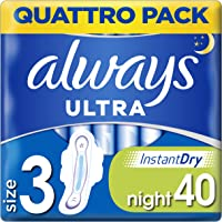 Always Ultra Night Quattro Pack Dambindor, Storlek 3, Paket med 40