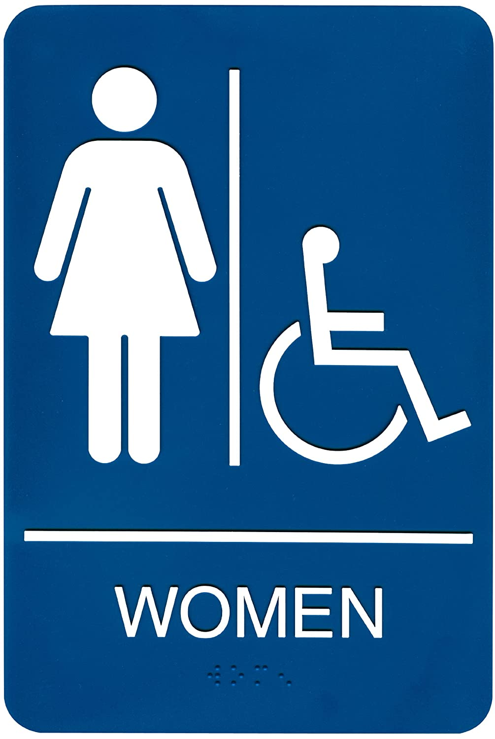 Amazon.com: Headline Sign 9005 ADA Wheelchair Accessible Womenu0027s Restroom  Sign With Tactile Graphic, 6 Inches By 9 Inches, Black/White: Office  Products