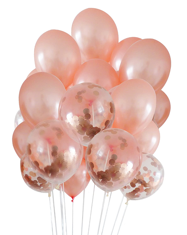 Amazon.com: Rose Gold Balloon Set:5 Confetti Balloons, 12 Latex ...