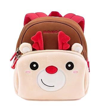 Tom Clovers Lightweight Cute 3D Christmas Reindeer Cartoon School Bag with  Fleece Hand Warm Pockets Kids