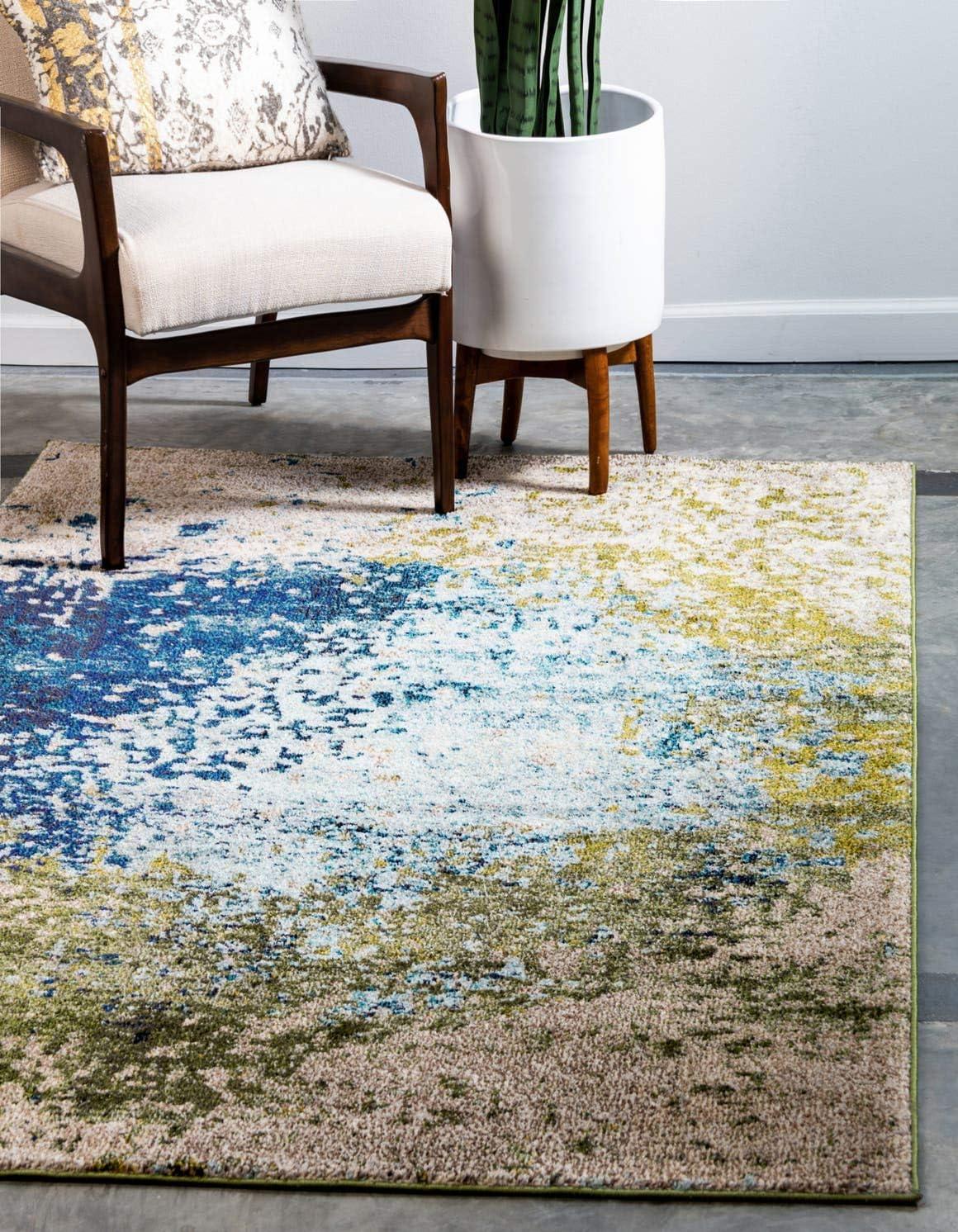 Unique Loom Estrella Collection Colorful Abstract Blue Area Rug 9 0 x 12 0