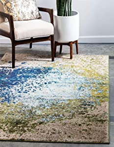 Unique Loom Estrella Collection Colorful Abstract Blue Area Rug (5' 0 x 8' 0)