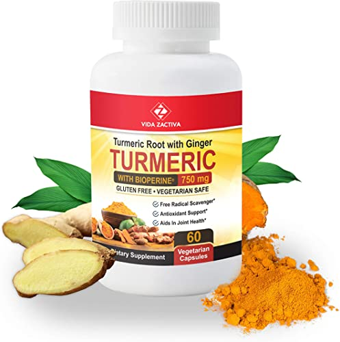 Turmeric Curcumin with BioPerine Ginger Root Capsules. All Natural Pain Relief Antioxidant and Joint Support. Highest Potency, 95 Curcuminoids Non-GMO, no Gluten Turmeric Capsules with Black Pepper