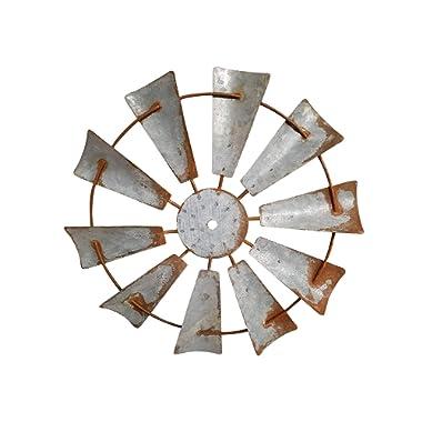 AHD Rustic Farmhouse Metal Windmill Wall Sculpture Decorative (12 Inch, Rusty Zinc)