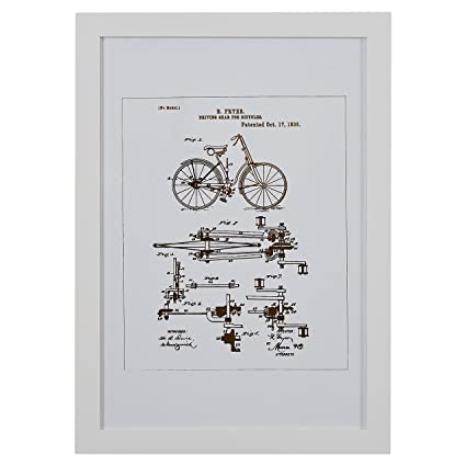 Amazon.com: Rivet Gold and White Vintage Bike Print in White Frame ...