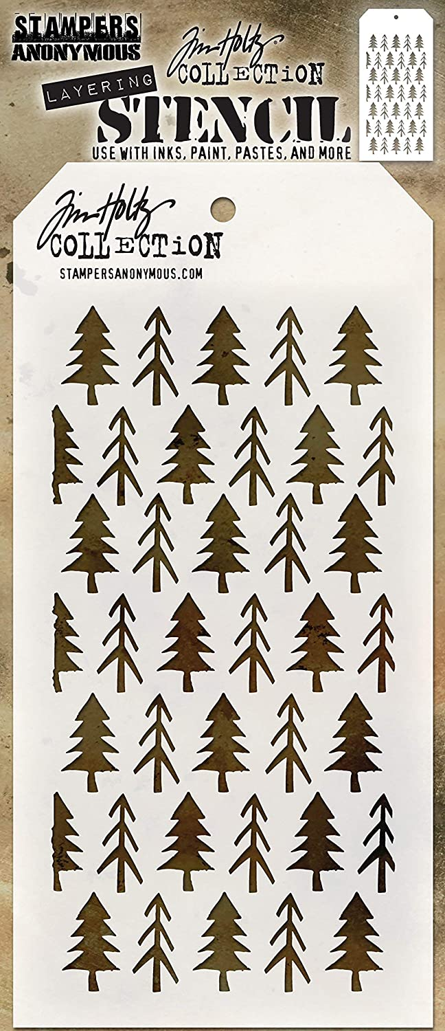 Stampers Anonymous THS096 Tim Holtz Layered Stencil 4.125X8.5-Pines