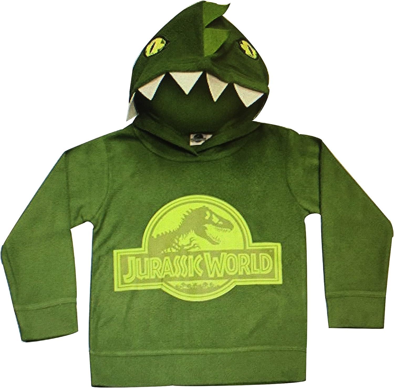 Jurassic World Official Licensed Boys Kids Green Dinosaur Fleece Hoody Hoodie 2-3