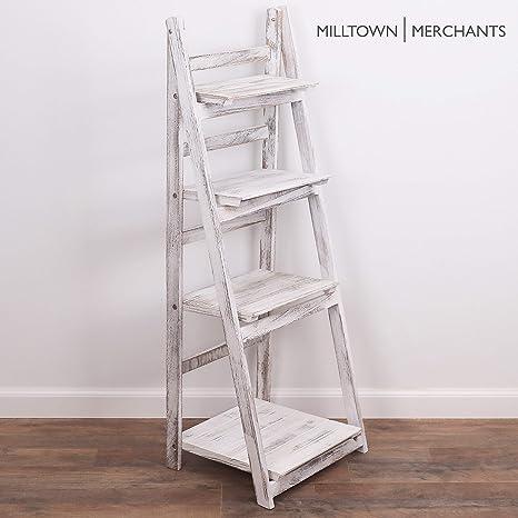new concept bcb18 178aa Milltown Merchants Ladder Shelf - Wooden Ladder Bookshelf - Leaning  Bookshelf - Rustic Bookcase - Folding Bookcase (Distressed White Ladder  Shelf)