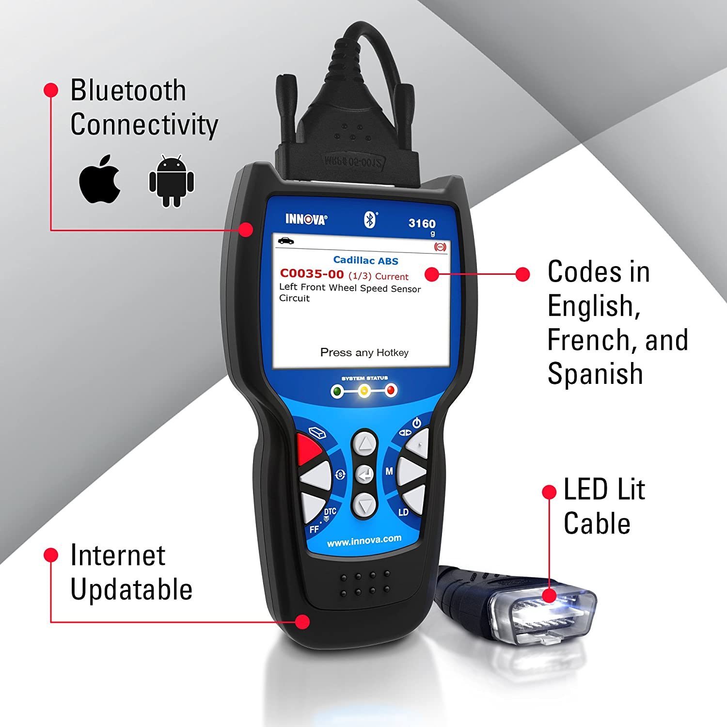 Innova 3160 Diagnostic Scan Tool With Abs Srs And Live 2002 Ford Explorer Wiring Diagram For Track Data Obd2 Vehicles Automotive