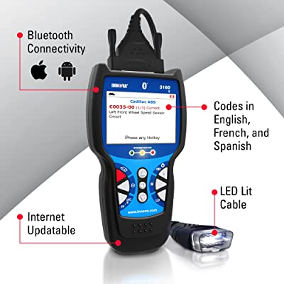 INNOVA 3160G CODE READER/SCAN TOOL WITH 3.5' DISPLAY, ABS, SRS, BLUETOOTH, AND LIVE DATA FOR OBD2 VEHICLES
