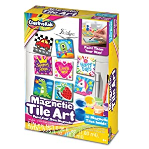 Creative Kids DIY Magnetic Mini Tile Art - Make Your Own Paint Art Craft Set for Kids - Includes 10 Mini Tiles w/Rubber Magnets 6 Colorful Paint Pots 1 Paint Brush And Detailed Instructions Age 6+