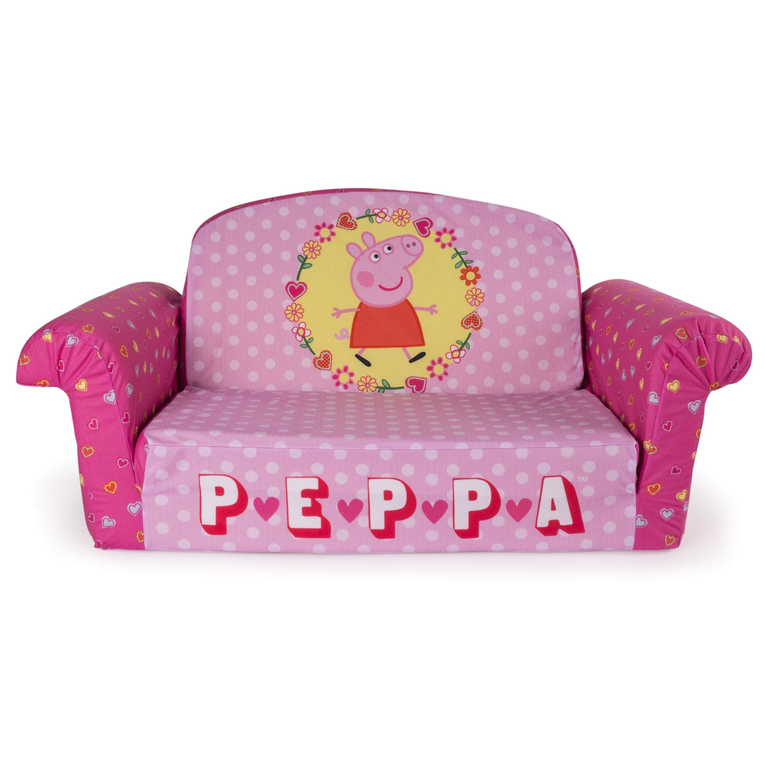 Marshmallow Furniture, Children's 2 in 1 Flip Open Foam Sofa, Peppa Pig, by Spin Master