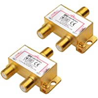 Cable Matters 2-Pack Bi-Directional 2.4 Ghz 2 Way Coaxial Cable Splitter for STB TV, Antenna and MoCA Network - All Port…
