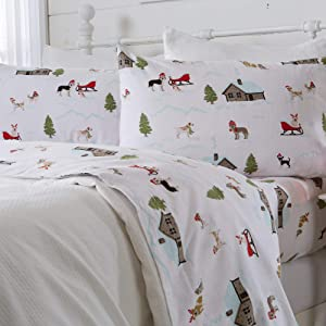 Great Bay Home 4 Piece Extra Soft Holiday Printed 100% Turkish Cotton Flannel Sheet Set. Heavyweight, Warm, Cozy, Luxury Winter Deep Pocket Bed Sheets. Whittaker Collection (Full, Winter Pups)