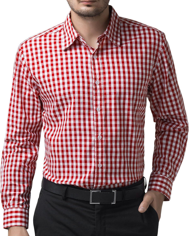 Mens Long Sleeves Dress Shirts Plaids /& Checks Button Down Slim Business WA6548