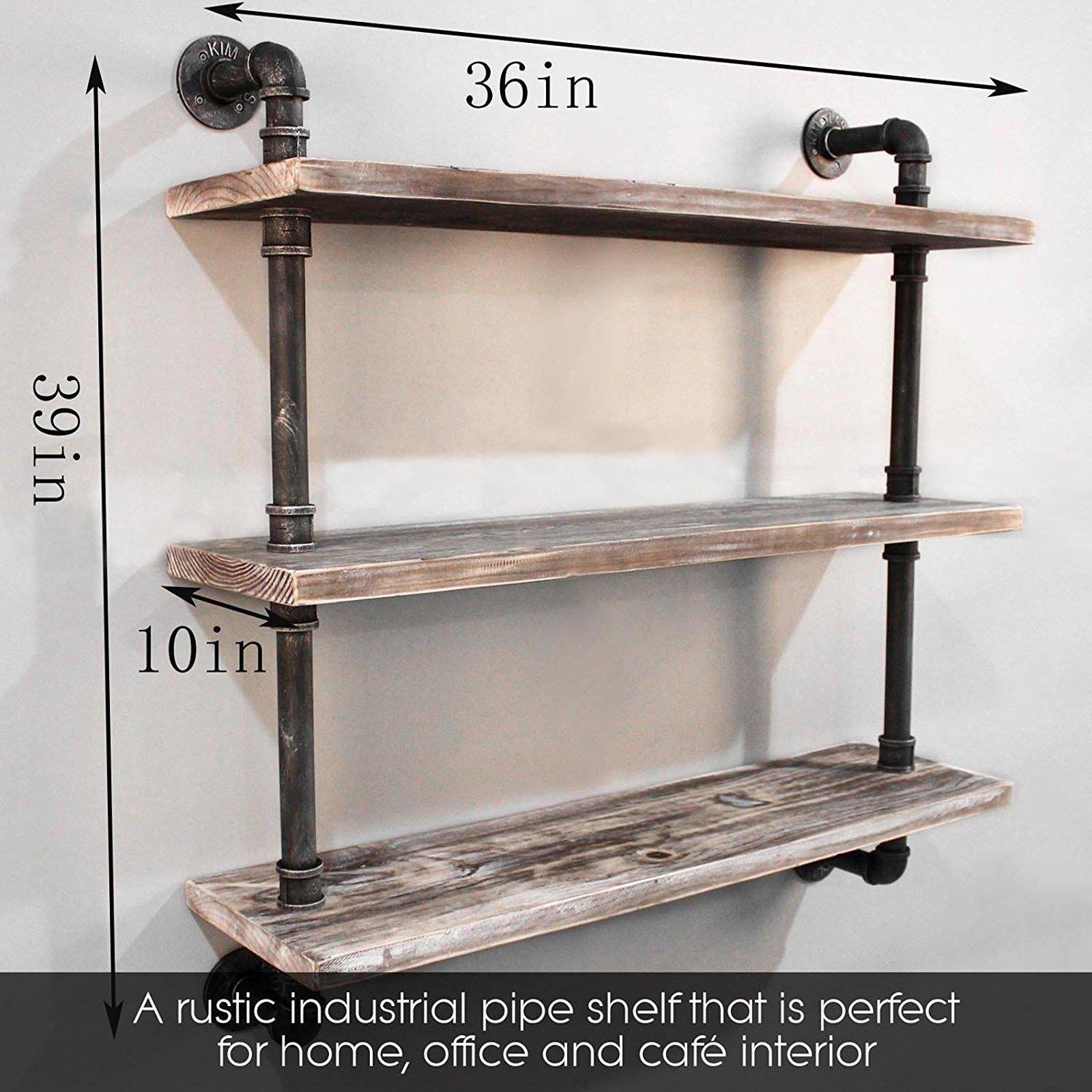 Diwhy Industrial Pipe Shelving Bookshelf Rustic Modern