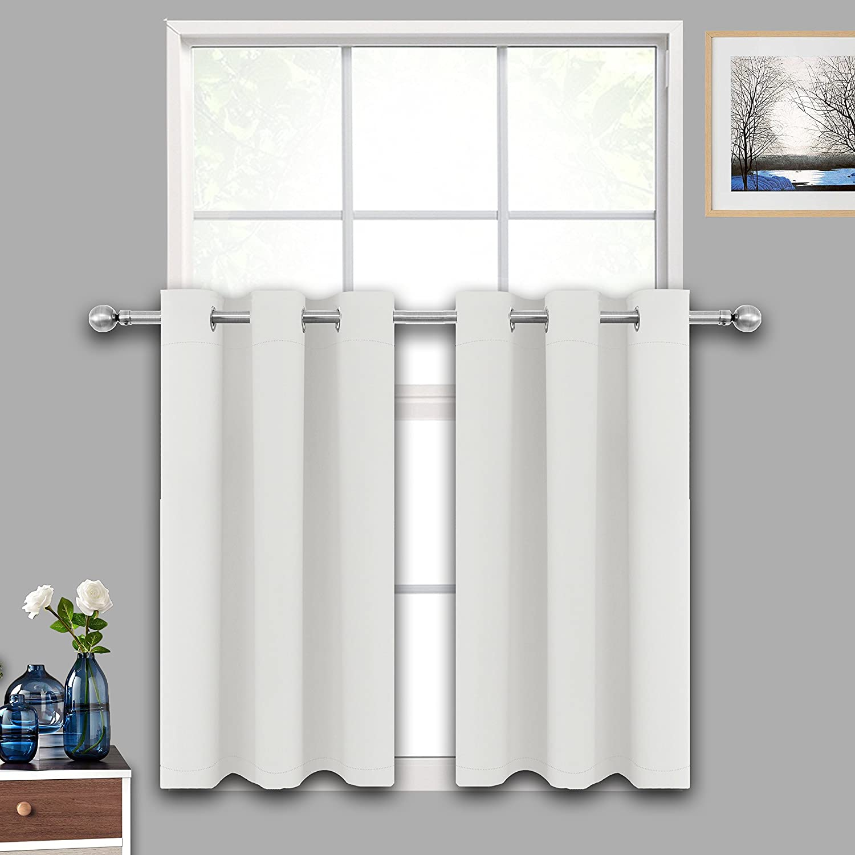 LIFONDER Kitchen Window Curtain Tiers - Greyish White Room Darkening Short Blackout Window Treatments/Drapes/Valances for Small Window/Bathroom/Bedroom, W42 X L36 Inch, One Piece