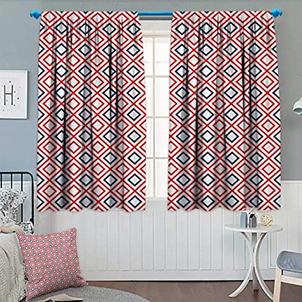 Wonderful Anhounine Geometric,Blackout Curtain,Modern Design Red And Navy Color  Diamond Line Pattern Simple