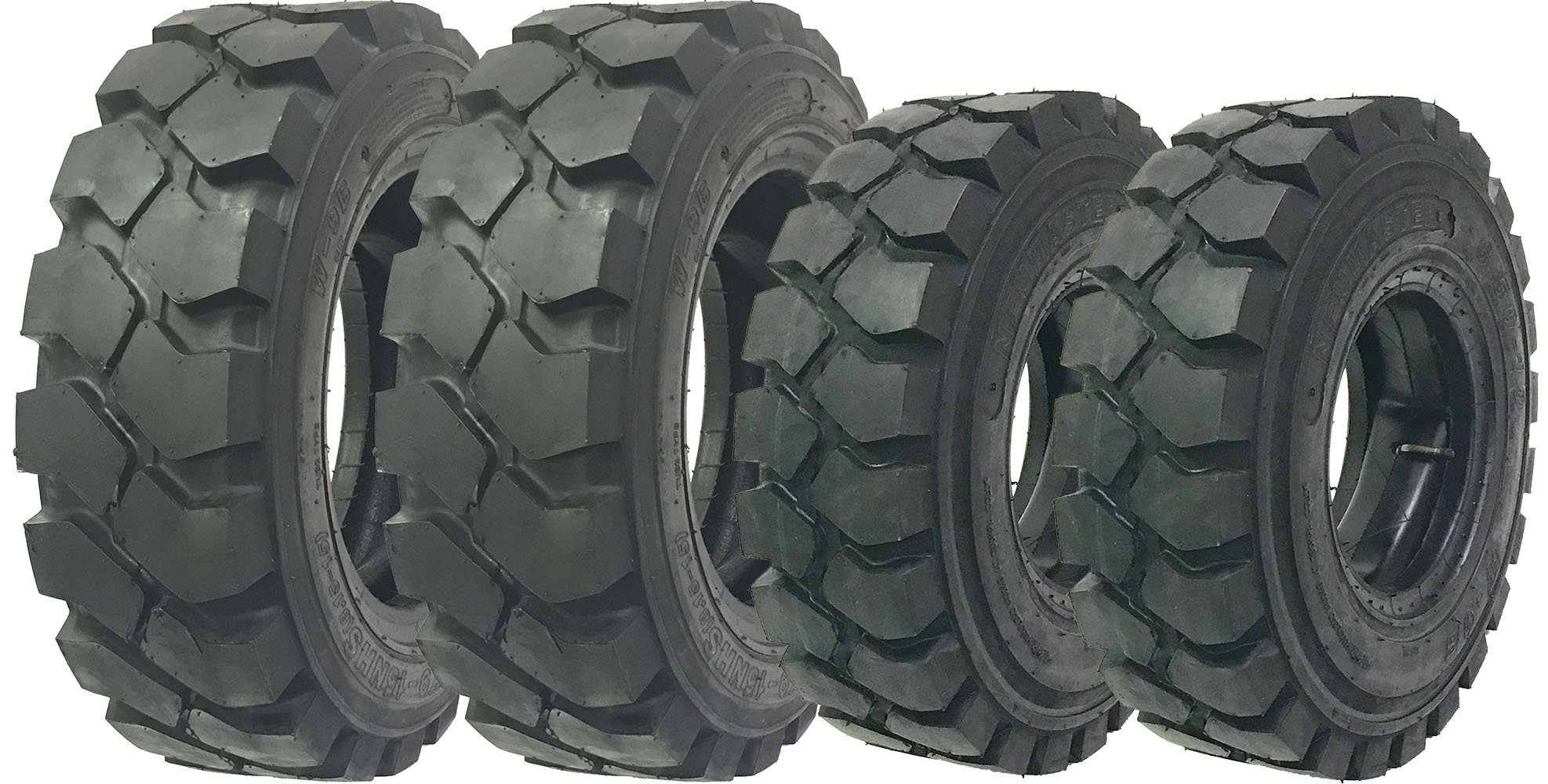 Set of 4 ZEEMAX 6.50-10 Steer & 28x9-15 (8.15-15) drive Forklift Tires w/Tube & Flap w/Rim Guard by NEUMASTER