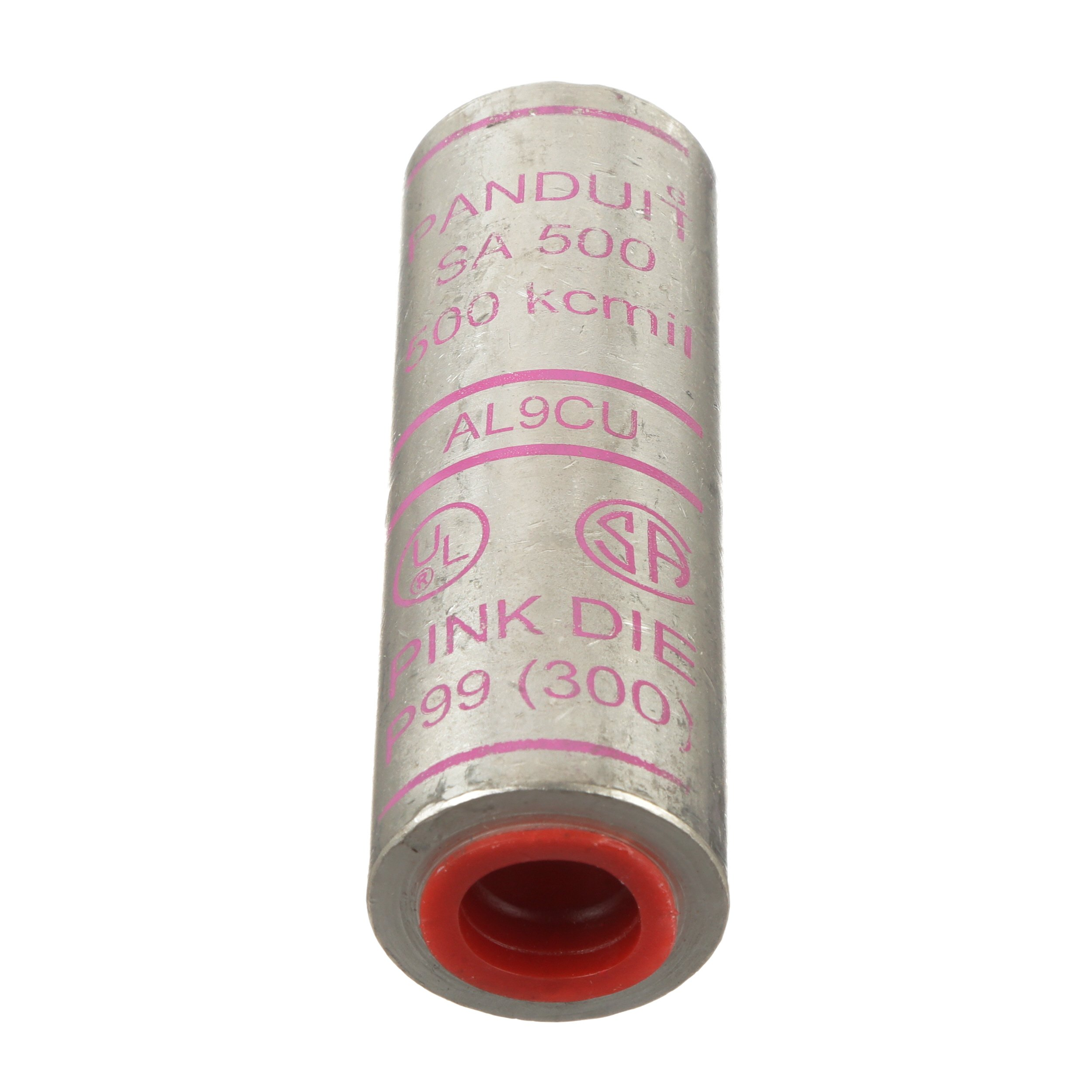 Panduit SA500-2 Barrel Code Conductor Splice, Aluminum, 500 kcmil Aluminum/Copper Conductor Size, Pink Color CBarrel ODe, 1-7/8'' Wire Strip Length, 1.32'' Barrel OD, 3.87'' Barrel Length
