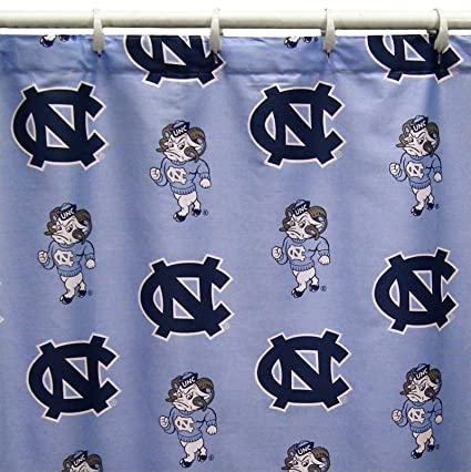 North Carolina Tar Heels Shower Curtain Cover Plus A Matching Window Valance